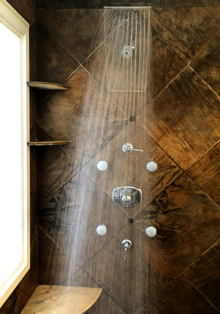 Clear Shower XL in Borwn tile Bathroom